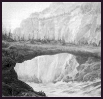 Old Bridge of the Gods drawing by unknown.