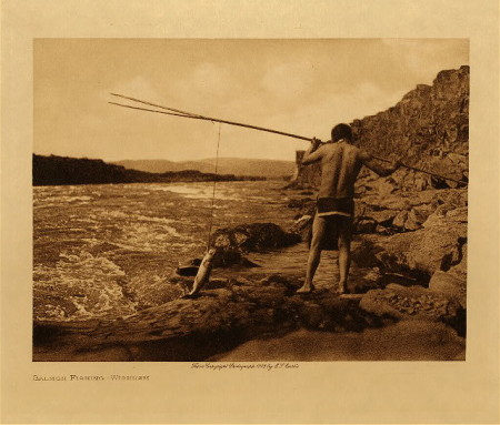 Wishram Fisherman. Edward S. Curtis photo