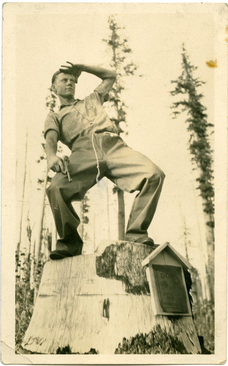 Random photo of a fellow on Larch Mountain during the 1930's.