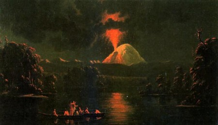 Paul Kane painting of Loowit (Mt. St. Helens), which was a symbol of rebirth to the Cowlitz People.