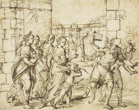 The Lupercalian Festival in Rome (ca. 1578–1610), drawing by the circle of Adam Elsheimer, showing the Luperci dressed as dogs and goats, with Cupid and personifications of fertility